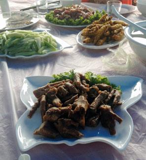 Dschungelcamp auf chinesisch: Hühnerfüße (vorne) und Seidenwürme gelten im Nordosten als Delikatesse